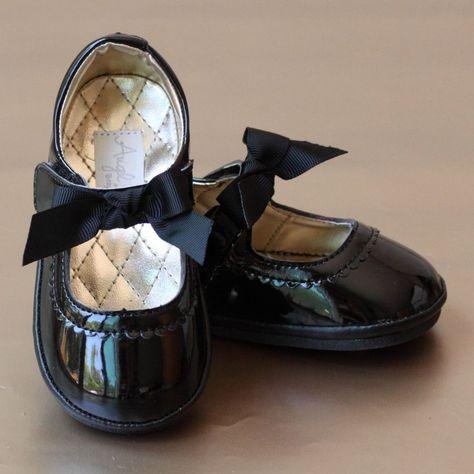 LAmour Little Girls Black Sequin Gemstone Flower Applique Boots 5-10 Toddler