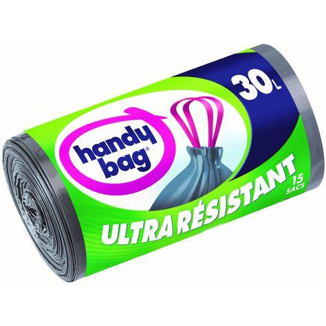 Handy Bag 30 sacs poubelle 50L 3 rouleaux de 10 sacs ultra r/ésistant poign/ées coulissantes anti-fuites