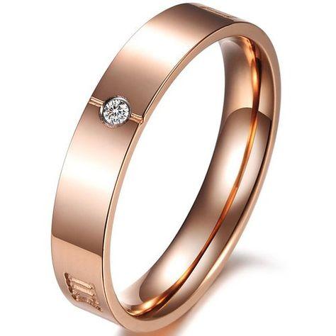 JewelryWe Schmuck Damen-Ring, Edelstahl, Römische Zahlen Ziffern, Farbe Rose Gold, Größe 49 bis 59: Amazon.de: Schmuck