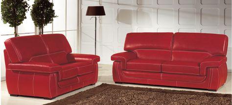 Canape Pegaz En Cuir De Buffle Rouge 3 Places 769 00 Livre Le