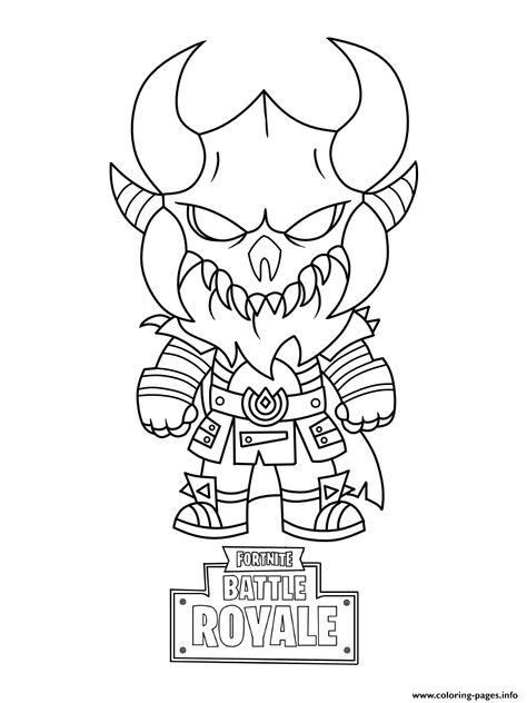 Print Fortnite Mini Cute The Dark Viking Coloring Pages With