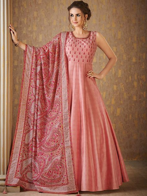 45b5d3be6a816a Shop Pink hue raw silk floor length anarkali suit online from G3fashion  India. Brand -