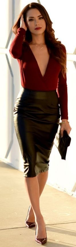 Charlotte Russe Bodysuit   Similar Black Faux Leather Skirt   Lulus Necklace   Ivanka Trump Heels   Riot Clutch   Black And Red Pre Spring Street Style   Roses are Red   Hapa Time #charlotte