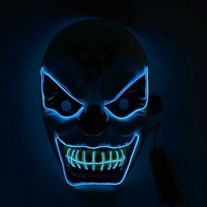Halloween El Wire Woven Light Up Mask Glowing Cosplay Costume Party Festival Party Glow In Dark 10 Colors Feel Free To Match Halloween Masks Cool Halloween Masks Mask Party