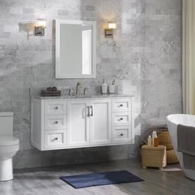 Allen Roth Floating 48 In White Single Sink Bathroom Vanity With Natural Carrara Marble Top Lowes Com Bathroom Vanity Designs Single Bathroom Vanity Single Sink Bathroom Vanity