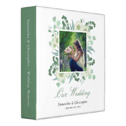 Eucalyptus Greenery Elegant Wedding Photo Album 3 Ring Binder Zazzle Com Wedding Photo Albums Diy Wedding Album Wedding Photos