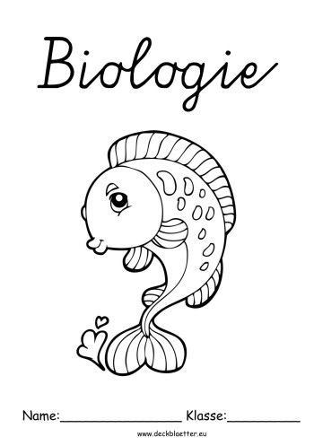 Biologie Deckblatt Fisch Deckblatt Erdkunde Deckblatt Biologie