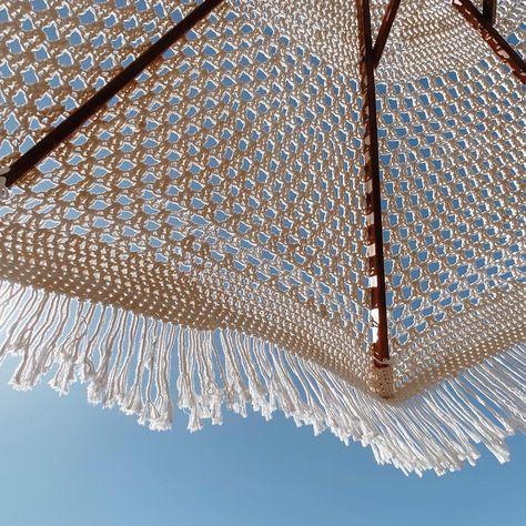 Macrame Umbrella. #beachumbrella #macrameumbrella #fringeumbrella #beachaccessories #bohemiandecor