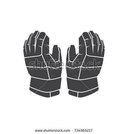 Hockey Gloves Vector In Flat Black Style Vector Illustration Vector Logo Illustration