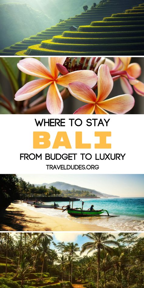 Where to stay in Bali, Indonesia from budget to luxury. Canggu Beach Hostel offers a unique experience surrounded by rice fields, Alila Uluwatu features eco-friendly villas, and Alam Kulkul Boutique Resort is home to multiple beaches in a traditional setting. From honeymoon villas to budget friendly hostels, Bali has options for every traveler. Travel in Southeast Asia.   Travel Dudes Travel Community #Travel #TravelTips #TravelGuide #Wanderlust #BucketList #Bali #Indonesia #Asia #SoutheastAsia
