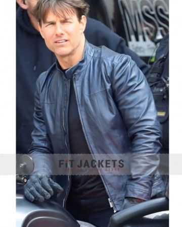 Mission Impossible 6 Fallout Tom Cruise Navy Blue Real Leather Motorcycle Jacket
