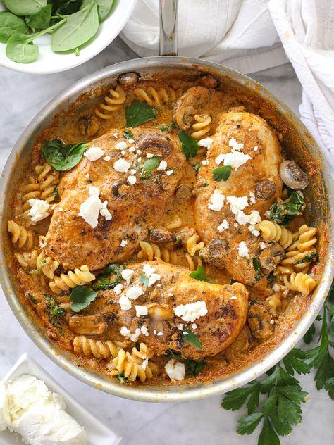 One-Pan Chicken with Creamy Sun-Dried Tomato Pesto Sauce #recipe on foodiecrush.com