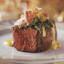 Grilled Filet Mignon and Crab with Bearnaise Sauce