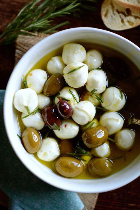 Garlic  Herb Marinated Mozzarella with Kalamata Olives