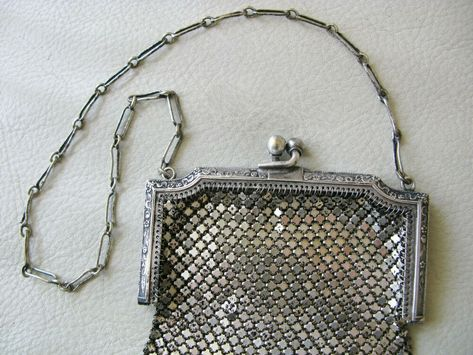 Vintage Antique Art Deco Two Tone Silver Frame 20 Brass Ball Drop Tassel Mesh Purse