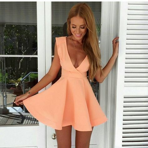 1dd5a591778 A-Line Deep V-Neck Short Peach Satin Homecoming Cocktail Dress ...