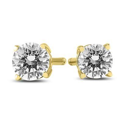 1 4 Carat Tw Round Diamond Solitaire Stud Earrings In 14k Yellow Gold Stud Earrings Solitaire Studs Earrings