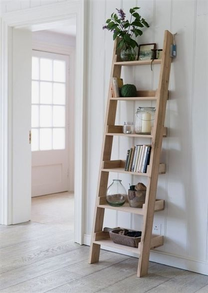 How To Build A Diy Leaning Ladder Shelf Step By Step Guide Oak