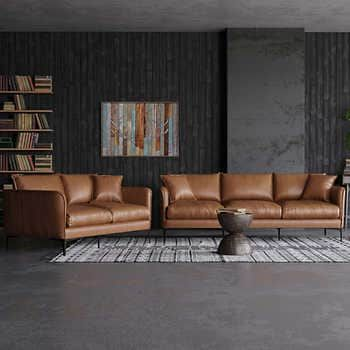 Misha Tan Top Grain Leather Sofa And Loveseat In 2020 Top Grain Leather Sofa Leather Sofa And Loveseat Tan Leather Couch Living Room