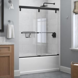Delta Everly 60 In X 59 1 4 In Frameless Mod Soft Close Sliding Bathtub Door In Matte Black With 1 4 In 6 Mm Clear Glass Sd4511087 The Home Depot In 2020 Bathtub Doors