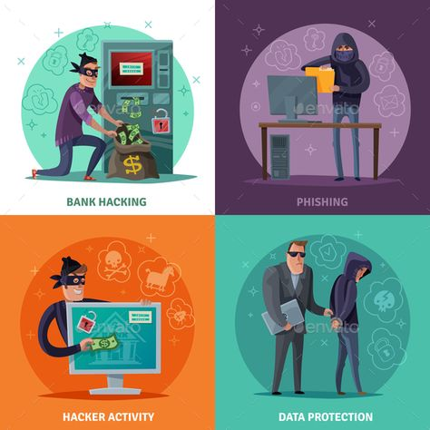 Buy Hacker Cartoon Design Concept by macrovector on GraphicRiver. Hacker activity, phishing, breaking of atm and stealing money, data protection, cartoon design concept isolated vecto.