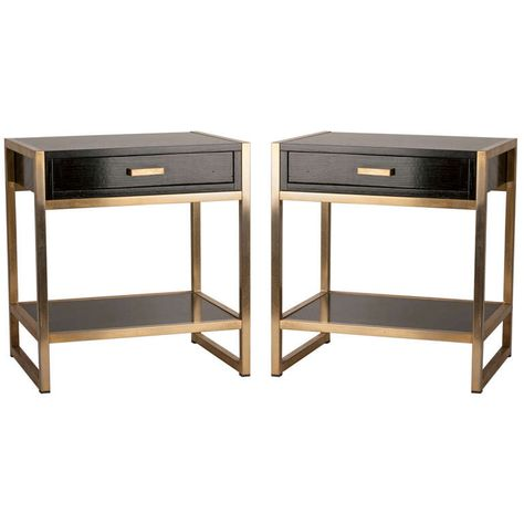 Pair of French Ebonized Oak and Bronze Tables   From a unique collection of antique and modern night stands at http://www.1stdibs.com/furniture/tables/night-stands/