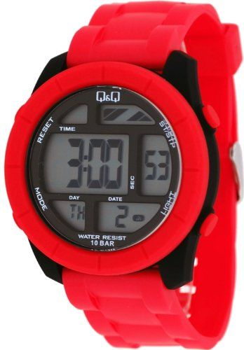 Qq M123j009y Mens Big Size Colorful Red Chrono Alarm Digital Watch Check This Awesome Product By Going To The Link At Watches For Men Digital Watch Watches