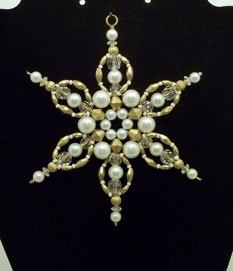 Snowflake Ornament - White Pearl and Antique Gold  Limited Edition - Christmas Ornaments - Beaded Ornaments - Holiday Decorations. $4.50, via Etsy.