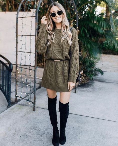 Pretty Sweater Dresses You Can Wear With Your Knee High