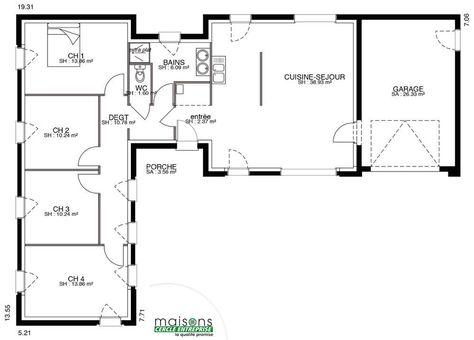 plan de maison contemporaine de plain pied maison Pinterest