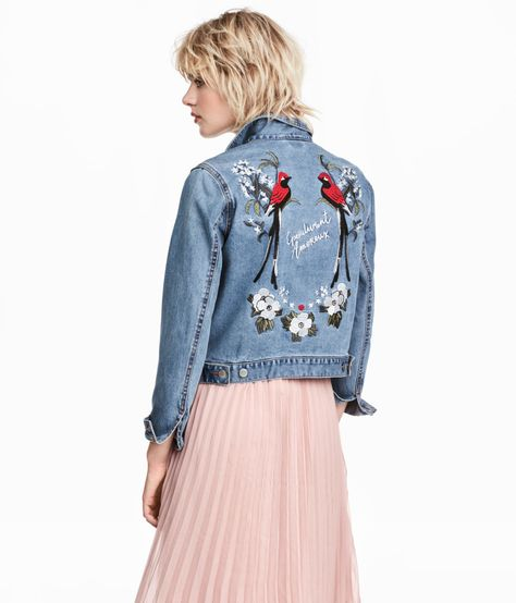 fccd3ac3b Gently fitted jacket in washed denim with embroidery on collar and at back.  Chest pockets with flap and button, buttons at cuffs, and adjustable tab at  ...