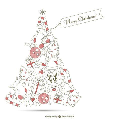 ゆるいタッチのラインで描いたシンプルで可愛いクリスマスカード