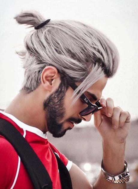 Attractive Samurai Hairstyles For Men Snow White Dyed Bun 2019 Ideas For Fashion White Hair Men Long Hair Styles Men Men Hair Color