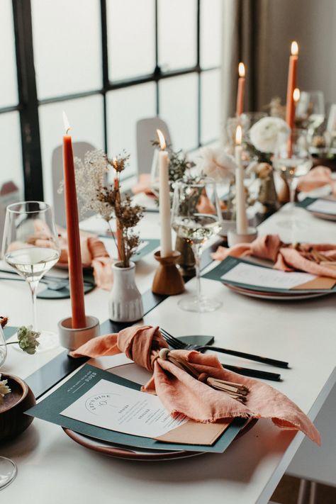 West Styled Shoot — See Level Design Co. Orange Table, Pink Table, Table Set Up, Burnt Orange Weddings, Level Design, Spring Wedding Invitations, Wedding Stationery, Spring Wedding Colors, Wedding Place Settings