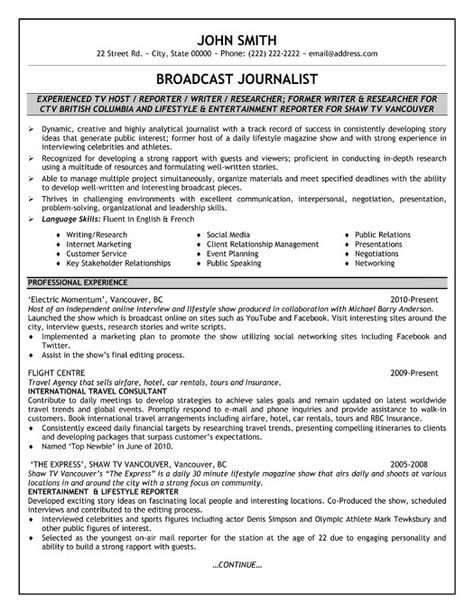 107 best Resumes \ Cover Letters images on Pinterest Career - broadcast journalism resume