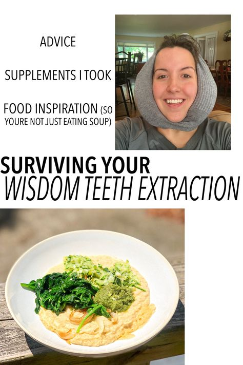 General advice, supplements I took, and delicious food inspiration for your wisdom teeth surgery. Post Wisdom Teeth Removal, Food After Wisdom Teeth, Wisdom Teeth Pulled, What To Eat After Wisdom Teeth Removal, Getting Wisdom Teeth Out, Teeth Surgery, Oral Surgery, Soft Foods To Eat, Recovery Food