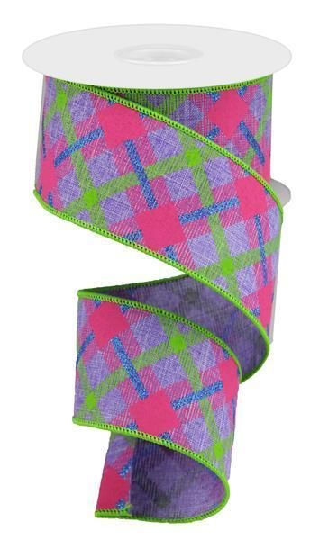 2 5 Printed Plaid Ribbon Lavender Lime Green Pink 10 Yard Pink Burlap Ribbon Green