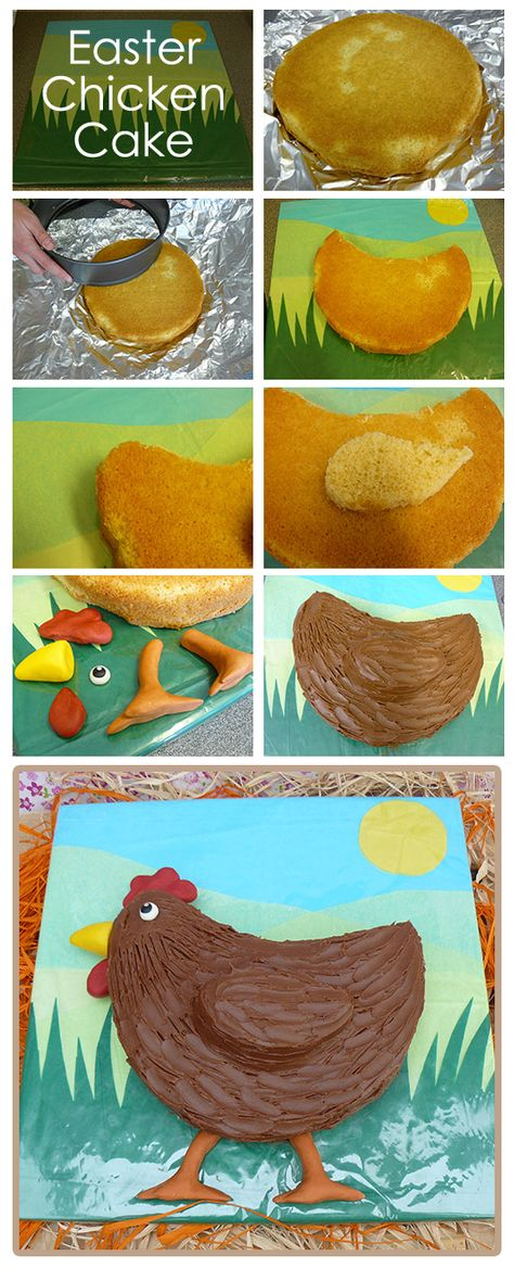 Easy Easter Chicken Cake - full details here http://www.partyideasuk.co.uk/library/seasonal/easter/easter-food/easter-chicken-cake.aspx