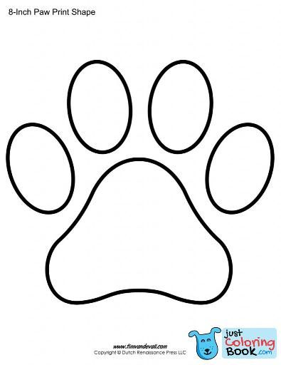 Paw Print Coloring Page Paw Print Template Shapes Blank Printable