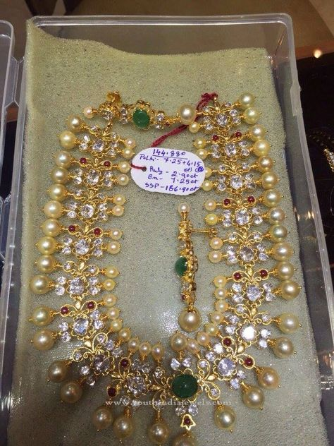 Flat Diamond and South Sea Pearls Necklace - Jewellery Designs