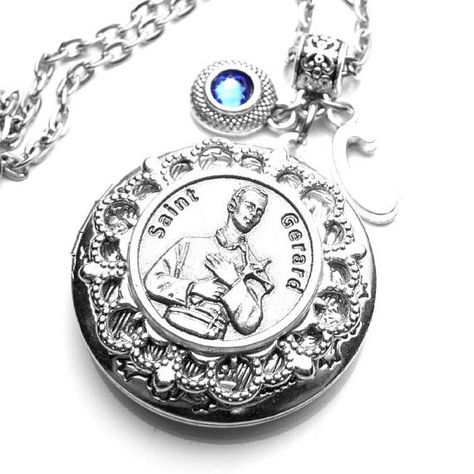 18-Inch Rhodium Plated Necklace with 6mm Rose Birthstone Beads and Sterling Silver Saint Maria Faustina Charm.