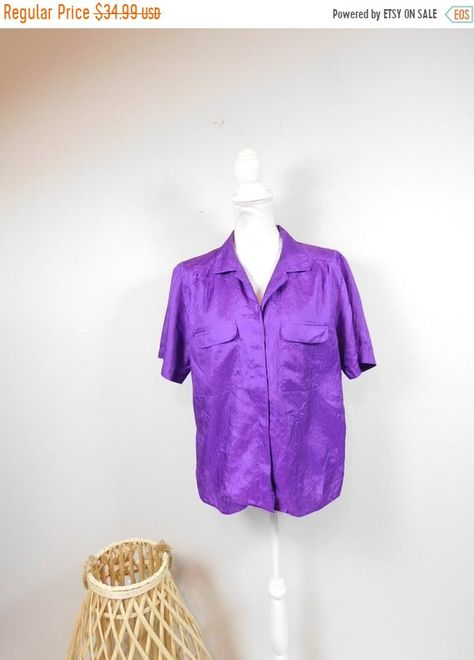 Woman Within Stretch Blouse with Black and Lavender Pin Cushion Flowers 34 Length Sleeves Button Front Size 3X in Great Condition