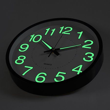 Mrosaa 12 Wall Clock Silent Non Ticking Quartz Wall Clock With Night Light Large Display Batte Wall Clock Glow In The Dark Wall Clock Silent Large Wall Clock