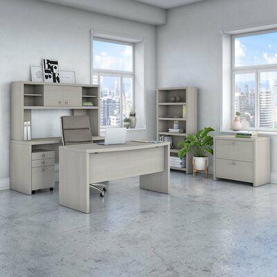Kathy Ireland Office By Bush Echo 6 Piece Desk Set Color Gray