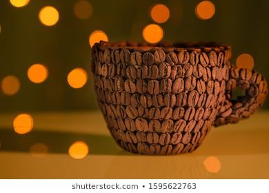 New Year S Coffee In Cup On Background Of Brown Background Sup Of Coffee Beans With Natural Ground Coffee Close Up Natural Grain Cof In 2020 Cup Coffee Cups Berries