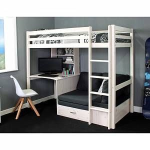 Cutler European Single High Sleeper Loft Bed with Shelf and Desk Finished in a clean,this standard bed is excellent for older kids and teens. It's a full-size bed