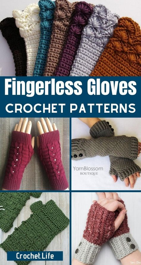 Crochet Fingerless Gloves Free Pattern, Crochet Gloves Pattern, Crochet Baby Dress Pattern, Crochet Patterns, Fingerless Mittens, Crochet Hand Warmers, Ribbed Crochet, Beginner Crochet Stitches, Beginner Crochet Projects