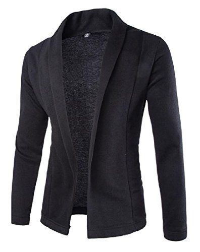 Abetteric Mens Britain Solid Color Bussiness Long-Sleeve Outwear Open Front Sweaters
