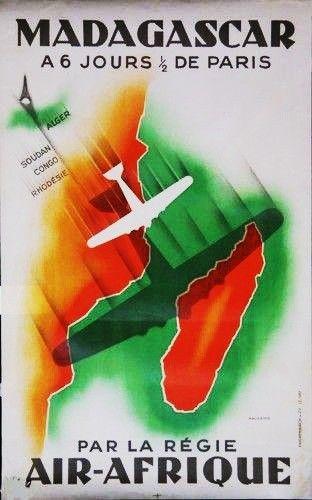 Madagascar Vintage Airline Travel Art Poster Print Giclée