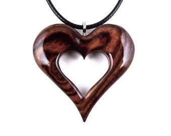 Items Similar To Wood Jewelry Wooden Heart Pendant Wooden Heart Necklace Wooden Carved Pendant Hand Carve Wooden Heart Pendant Wooden Jewelery Wood Carving